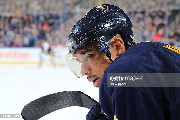 Evander Kane of the Buffalo Sabres watches the action against the Minnesota Wild during an NHL game on March 5 2016 at the First Niagara Center in...
