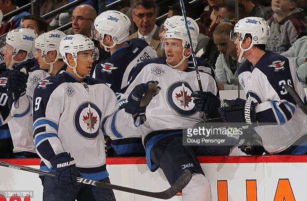 Evander Kane of the Winnipeg Jets celebrates his second goal of the game against the Colorado Avalanche in the second period at the Pepsi Center on...