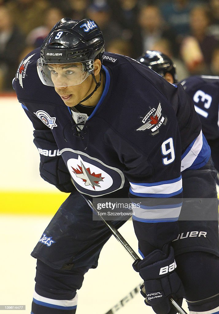 Evander Kane #9 of the Winnipeg Jets during their NHL game against the Philadelphia Flyers at MTS Centre on February 21, 2012 in Winnipeg, Manitoba, Canada.