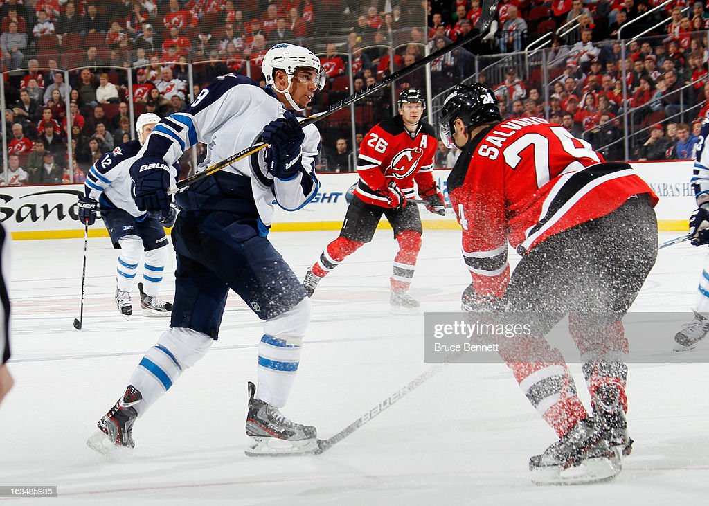 Evander Kane #9 of the Winnipeg Jets is stopped with 5.8 seconds left in regulation time against the New Jersey Devils at the Prudential Center on March 10, 2013 in Newark, New Jersey.The Devils defeated the Jets 3-2 in the shootout.