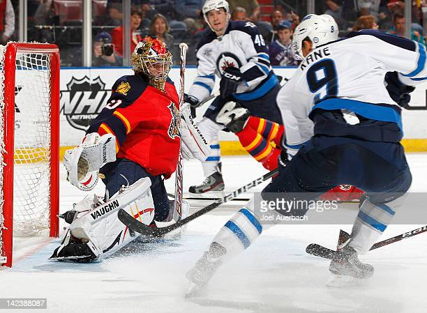 Evander Kane of the Winnipeg Jets scores a goal against goaltender Jose Theodore of the Florida Panthers in the second period on April 3 2012 at the...