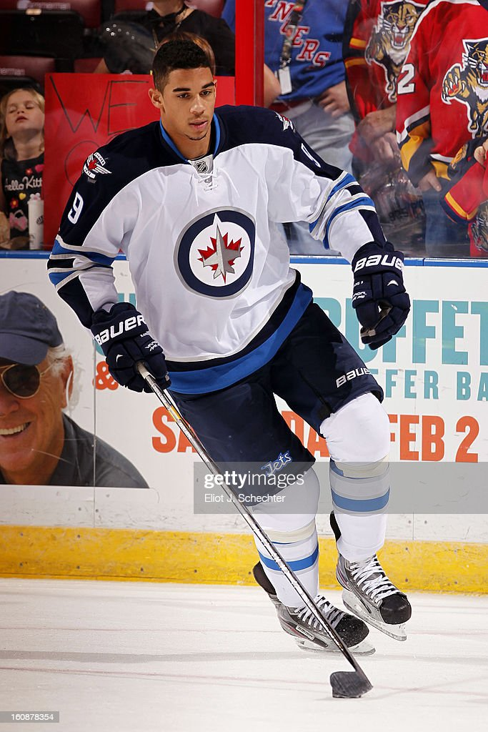 Evander Kane #9 of the Winnipeg Jets skates the ice prior to the start of the game against the Florida Panthers at the BB&T Center on January 31, 2013 in Sunrise, Florida.