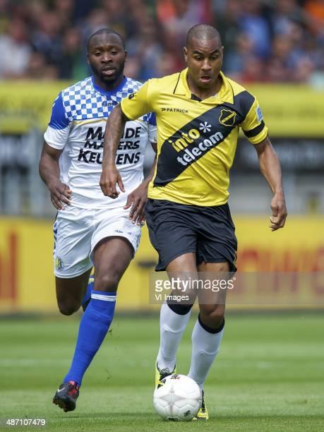 Evander Sno of RKC Waalwijk Rydell Poepon of NAC Breda during the Dutch Eredivisie match between NAC Breda and RKC Waalwijk at Rat Verlegh stadium on...