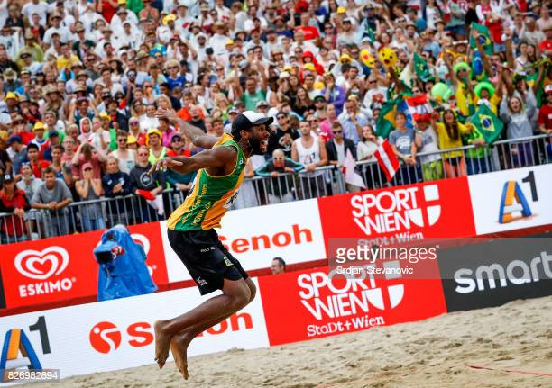 Evandro of Brazil celebrate victory after the Men's Gold medal match between Brazil and Austria on August 06 2017 in Vienna Austria