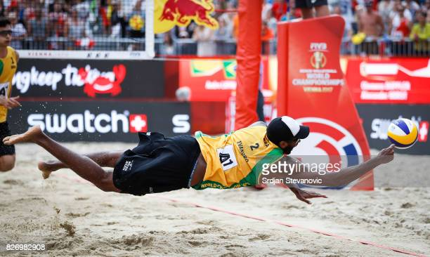 Evandro of Brazil dives for the ball during the Men's Gold medal match between Brazil and Austria on August 06 2017 in Vienna Austria