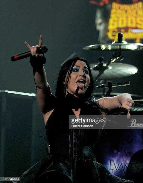 Evanescence singer Amy Lee performs on stage during the 2012 Revolver Golden Gods Award Show at Club Nokia on April 11 2012 in Los Angeles California