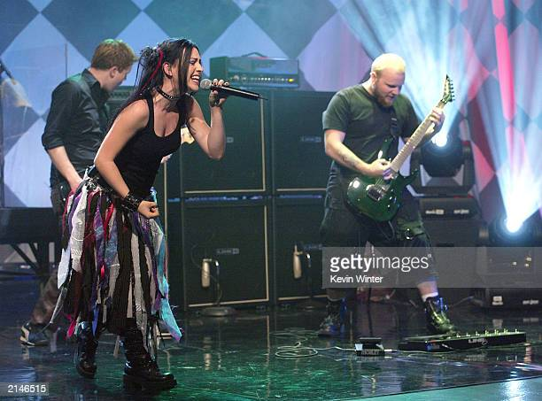 Evanescence with singer Amy Lee performs on 'The Tonight Show with Jay Leno' at the NBC Studios on July 8 2003 in Burbank California