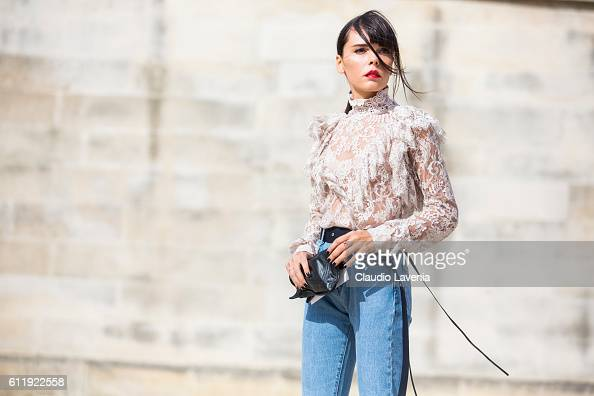Evangelie Smyrniotaki attends the Elie Saab show on day 5 of Paris Womens Fashion Week Spring/Summer 2017Êon September 30 2016 in Paris France