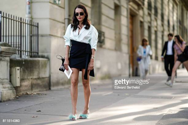 Evangelie Smyrniotaki is seen outside the launch party for Chanel's new perfume 'Gabrielle' during Paris Fashion Week Haute Couture Fall/Winter...