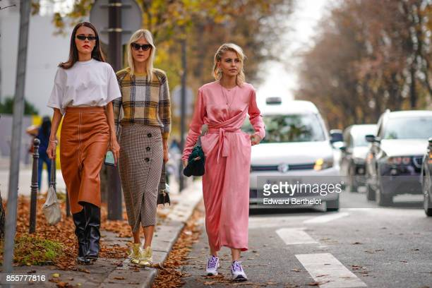 Evangelie Smyrniotaki Linda Tol and Caroline Daur outside Issey Miyake during Paris Fashion Week Womenswear Spring/Summer 2018 on September 29 2017...