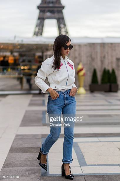 Evangelie Smyrniotaki wearing a Olympia LeTan jacket outside Elie Saab during the Paris Fashion Week Haute Couture Spring/Summer 2016 on January 27...