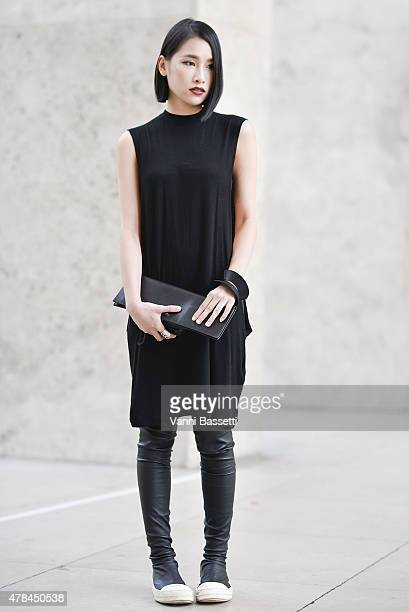 Evangelie Yan poses wearing Rick Owens on June 25 2015 in Paris France