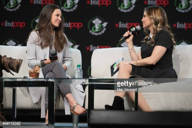 Evangeline Lilly and Clare Kramer speak on stage during Emerald City Comic Con at Washington State Convention Center on March 4 2017 in Seattle...