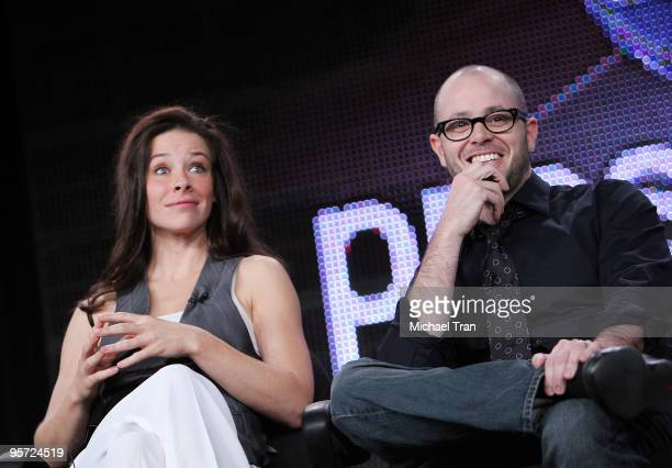 Evangeline Lilly and Damon Lindelof attend the ABC and Disney Winter Press Tour held at The Langham Resort on January 12 2010 in Pasadena California