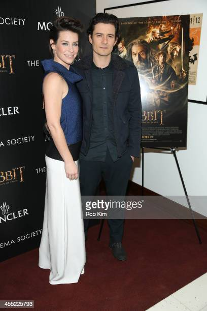 Evangeline Lilly and Orlando Bloom attend New Line Cinema and MGM Pictures screening of 'The Hobbit The Desolation Of Smaug' hosted by the Cinema...
