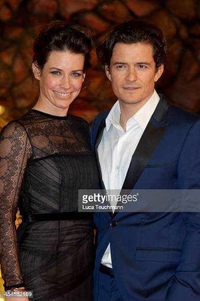 Evangeline Lilly and Orlando Bloom attend the German premiere of the film 'The Hobbit The Desolation Of Smaug' at Sony Centre on December 9 2013 in...