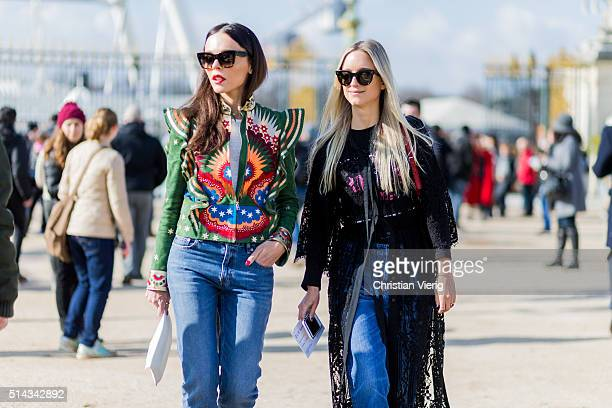 Evangeline Smyrotaki and Charlotte Groeneveld wearing denim outside Elie Saab during the Paris Fashion Week Womenswear Fall/Winter 2016/2017 on March...