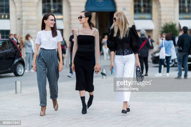Evangeline Smyrotaki Chriselle Lim Charlotte Groeneveld outside Schiaparelli during Paris Fashion Week Haute Couture Fall/Winter 20172018 Day Two on...