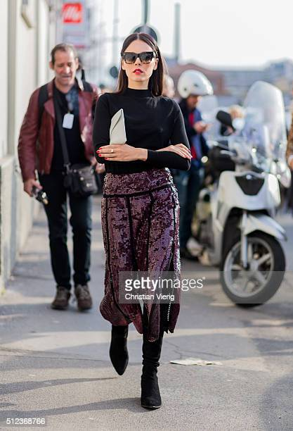 Evangeline Smyrotaki seen outside Emilio Pucci during Milan Fashion Week Fall/Winter 2016/17 on February 25 in Milan Italy
