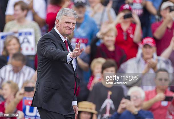 Evangelist and CEO of the Billy Graham Evangelistic Association Franklin Graham takes the stage before presidentelect Donald Trump during a thank you...