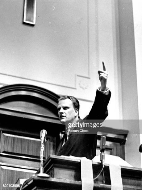Evangelist Bill Graham speaks at Park Street Church in Boston on Feb 16 1964