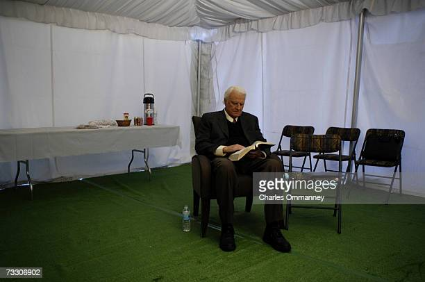 Evangelist Billy Graham during his New York Crusade at Flushing Meadows Park on June 24 2005 in Queens New York Graham has preached the Gospel to...