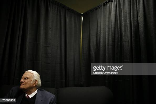 Evangelist Billy Graham prepares to preach during the Metro Maryland 2006 Festival on July 9 2006 at Oriole Park at Camden Yards in Baltimore...