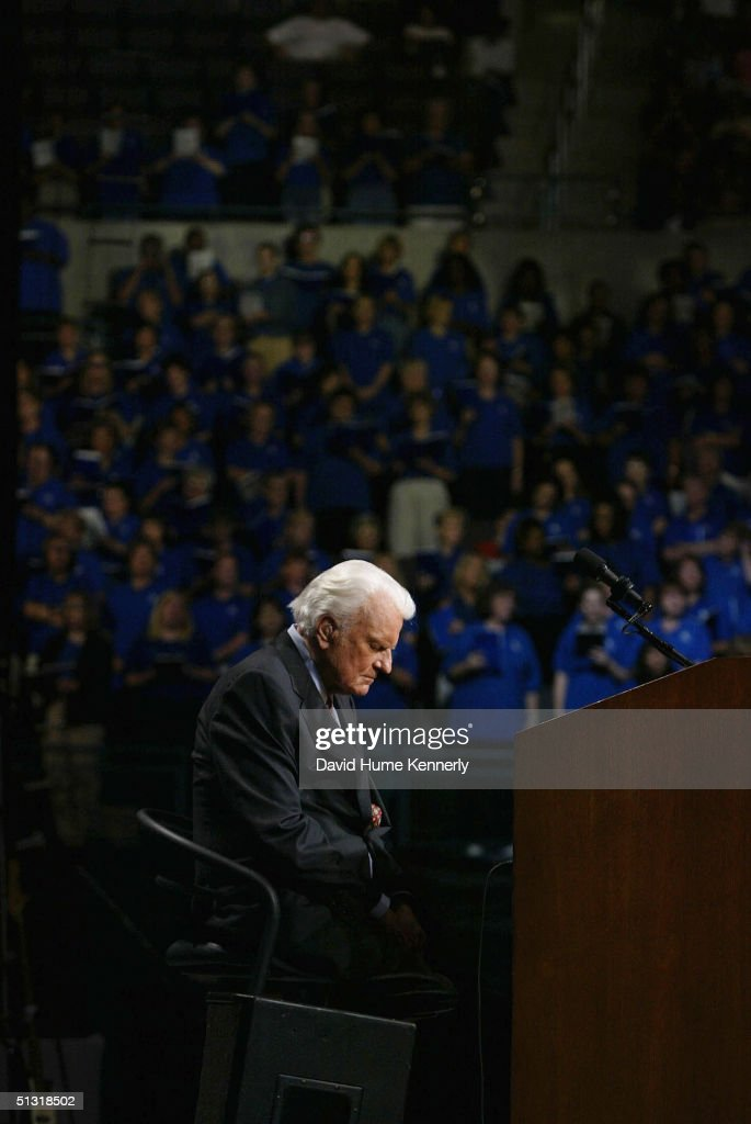 Evangelist Billy Graham sits at a Billy Graham rally on June 13 2003 in Oklahoma City Oklahoma