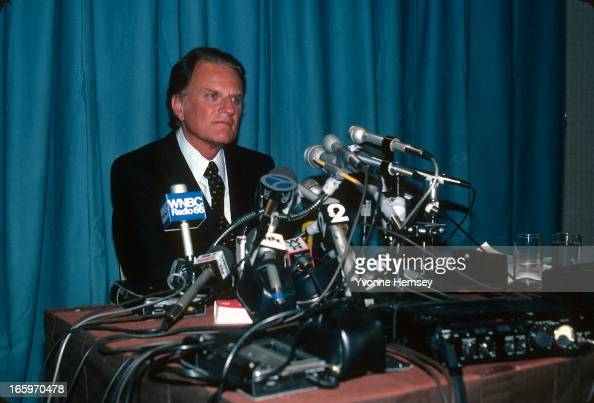 Evangelist Billy Graham speaks at a news conference May 19 1982 in New York City Graham discusses his controversial trip to the Soviet Union where he...