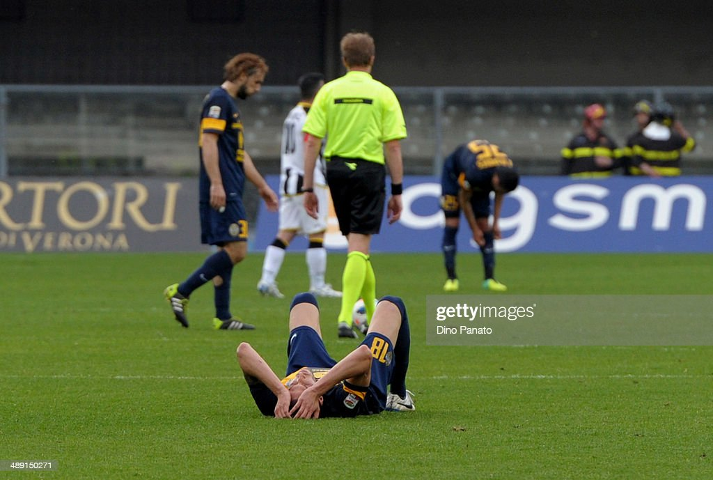 Evangelos Moras of Hellas Verona appears dejected after the Serie A match between Hellas Verona FC and Udinese Calcio at Stadio Marc'Antonio Bentegodi on May 10, 2014 in Verona, Italy.