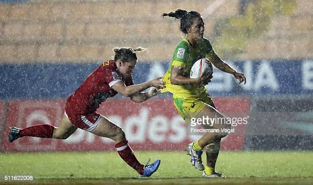 Evania Pelite of Australia in action against Canada during the Women's HSBC Sevens World Series at Arena Barueri on February 21 2016 in Barueri Brazil