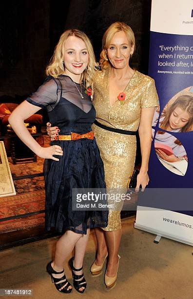 Evanna Lynch and JK Rowling attend the Lumos fundraising event hosted by JK Rowling at The Warner Bros Harry Potter Tour on November 9 2013 in London...