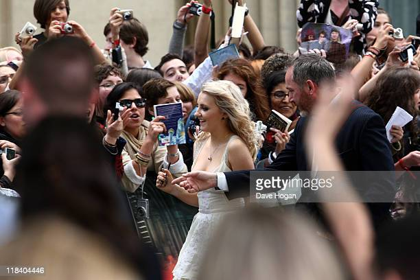 Evanna Lynch attends the world premiere of Harry Potter and the Deathly Hallows Part 2 at Trafalgar Square on July 7 2011 in London England