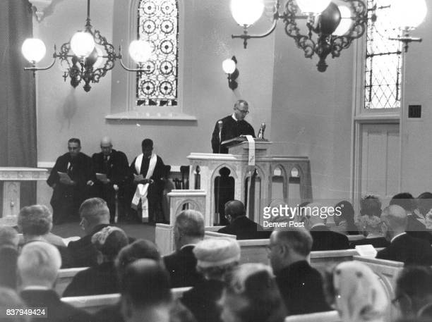 Evans Chapel open DU Campus Chaplain William Rhodes of the University of Denver occupies the pulpit during a 15 minute service of thanksgiving and...