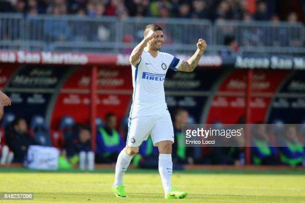 Evar Banega of Inter celebrates his goal during the Serie A match between Cagliari Calcio and FC Internazionale at Stadio Sant'Elia on March 5 2017...