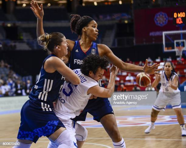 Evdokia Stamati of Greece in action during the 2017 FIBA EuroBasket Women's semifinal match between Greece and France at O2 Arena Prague Czech...