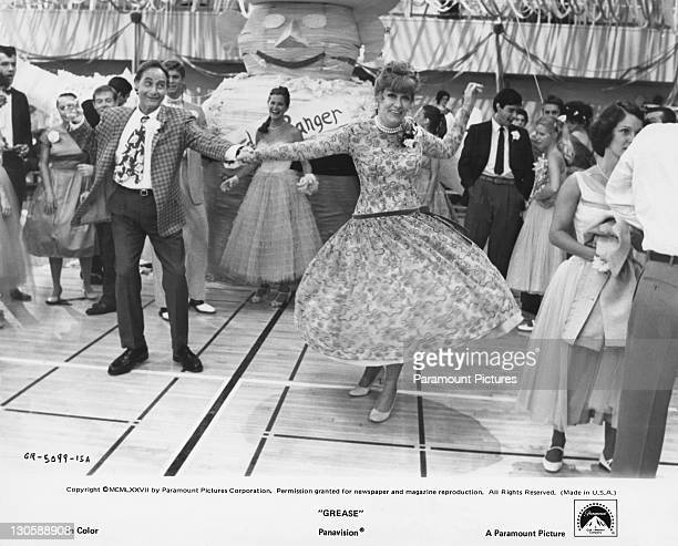 Eve Arden as Principal McGee and Sid Caesar as Coach Calhoun in a scene from the Paramount musical 'Grease' 1978