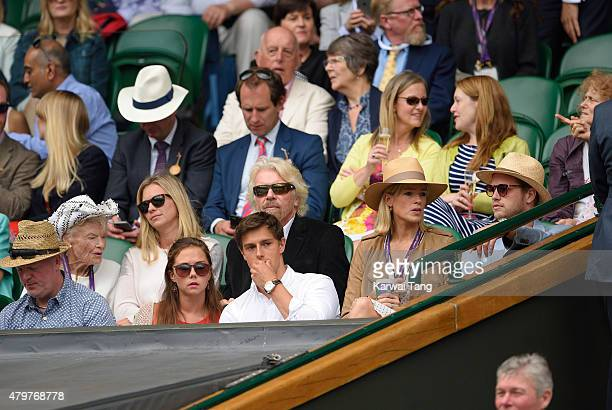 Eve Branson Holly Branson Richard Branson Isabella Calthorpe and Sam Branson attend day eight of the Wimbledon Tennis Championships at Wimbledon on...