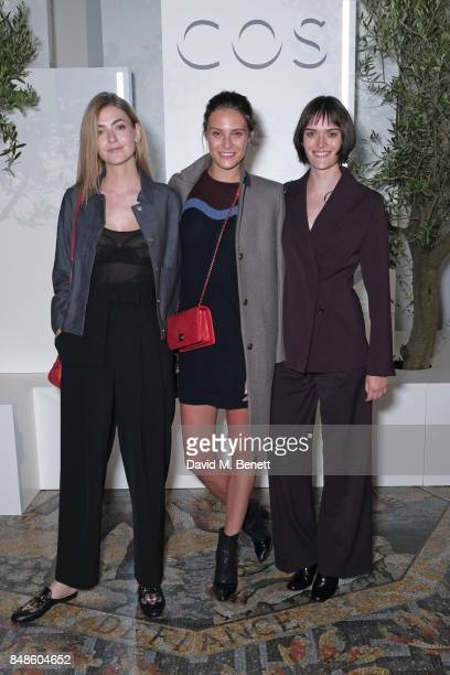 Eve Delf Charlotte Wiggins and Sam Rollinson attend the COS 10 year anniversary party at The National Gallery on September 17 2017 in London England
