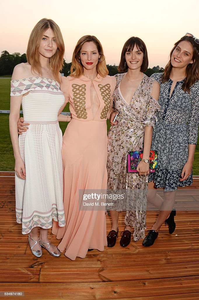 Eve Delf, <a gi-track='captionPersonalityLinkClicked' href=/galleries/search?phrase=Sienna+Guillory&family=editorial&specificpeople=224970 ng-click='$event.stopPropagation()'>Sienna Guillory</a>, <a gi-track='captionPersonalityLinkClicked' href=/galleries/search?phrase=Sam+Rollinson&family=editorial&specificpeople=11035657 ng-click='$event.stopPropagation()'>Sam Rollinson</a> and <a gi-track='captionPersonalityLinkClicked' href=/galleries/search?phrase=Charlotte+Wiggins&family=editorial&specificpeople=10356558 ng-click='$event.stopPropagation()'>Charlotte Wiggins</a> attend day one of the Audi Polo Challenge at Coworth Park on May 28, 2016 in London, England.
