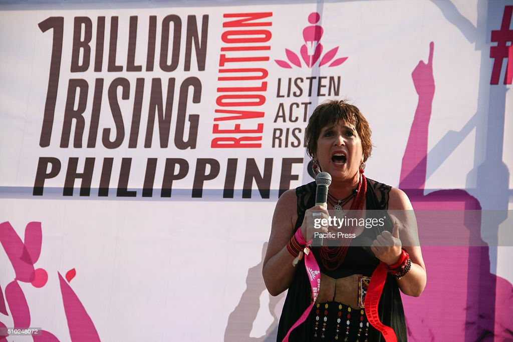 Eve Ensler, playwright of the Vagina Monologues, gives her speech in Rizal Park in Manila. Hundreds flocked to Rizal Park, in Manila, to participate in the One Billion Rising event. Lead by Gabriela, a women rights group, activists danced as they campaign to end violence against women.