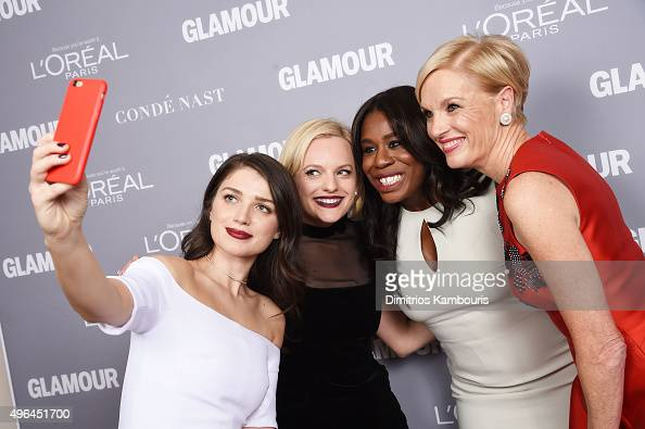 Eve Hewson Elisabeth Moss Uzo Aduba and Cecile Richards attend the 2015 Glamour Women Of The Year Awards at Carnegie Hall on November 9 2015 in New...