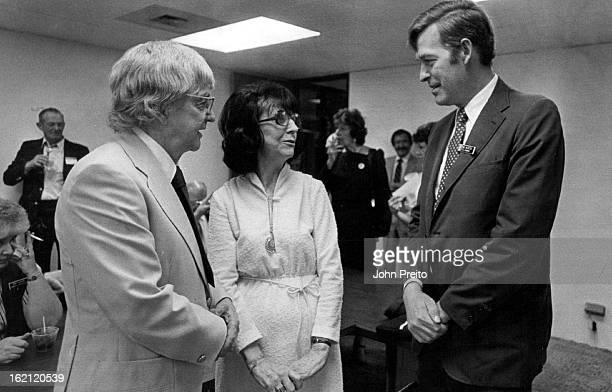 1981 MAY 17 1982 Eve Lincoln chats with husband Harold left and US Rep Tim Wirth DColo