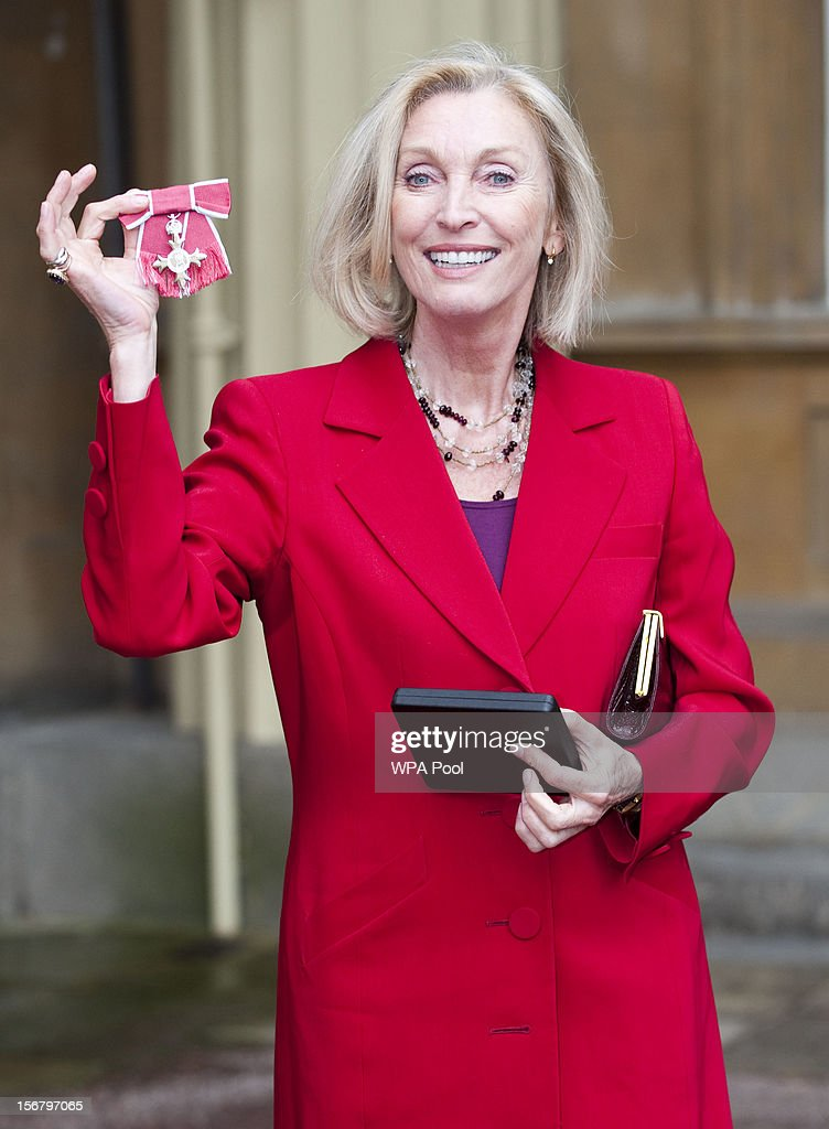 Eve Lom, Founder of Eve Lom Skincare, is awarded an OBE at Buckingham Palace for services to the Cosmetics Industry on November 21, 2012 in London, England.