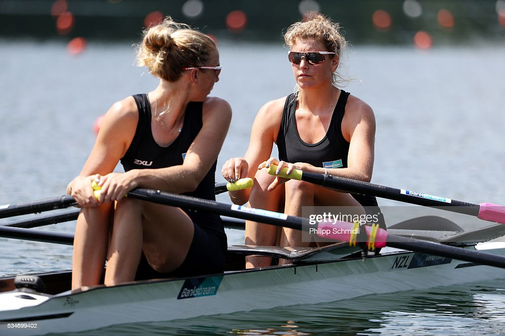 Eve Macfarlane (R) and Zoe Stevenson of New Zealand compete in the Women's Double Sculls heats during day 1 of the 2016 World Rowing Cup II at Rotsee on May 27, 2016 in Lucerne, Switzerland.