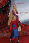Eve Maren Buechner and her son Jack attend the 'The Amazing SpiderMan' Germany Premiere at Sony Centre on June 20 2012 in Berlin Germany