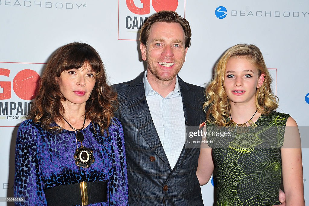 Eve Mavrakis, Ewan McGregor and Clara McGregor arrive at the 8th Annual GO Campaign Gala at Montage Beverly Hills on November 12, 2015 in Beverly Hills, California.
