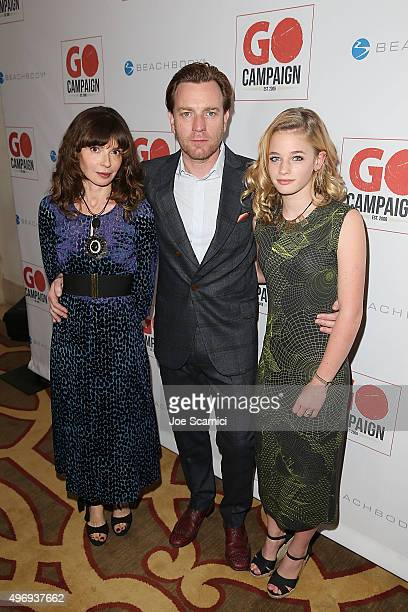 Eve Mavrakis Ewan McGregor and Clara McGregor arrive at the 8th Annual GO Campaign Gala at Montage Beverly Hills on November 12 2015 in Beverly Hills...