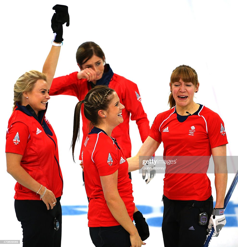 Eve Muirhead Anna Sloan Claire Hamilton and Vicki Adams of Great Britain celebrate as they win the bronze medal during the Bronze medal match between...