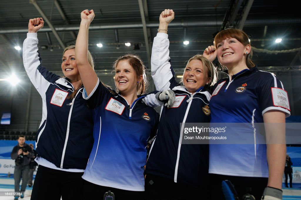 Eve Muirhead, Anna Sloan, Vicki Adams and Claire Hamilton celebrates after winning the Gold medal match between Sweden and Scotland on Day 9 of the Titlis Glacier Mountain World Women's Curling Championship at the Volvo Sports Centre on March 24, 2013 in Riga, Latvia.